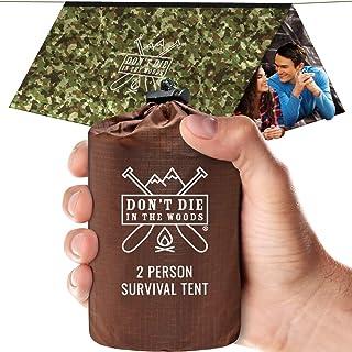 Don't Die In The Woods 世界*艰巨的超轻生存帐篷 • 2 人聚酯薄膜应急收容帐篷 + 伞绳 • 全年保护徒步、露营、户外生存套件