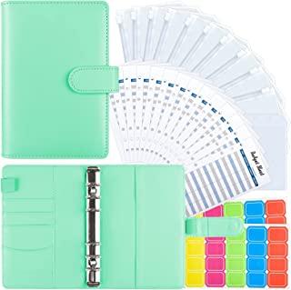 28 件 A6 PU 皮革活页夹套,带活页夹口袋,费用预算表和标签,用于预算组织者现金信封系统,省钱(*)