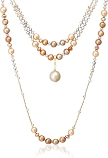 VENDOME BOUTIQUE [限定 2 件套] 栗色米色 淡水珍珠宝石项链 VBRD653042DJ