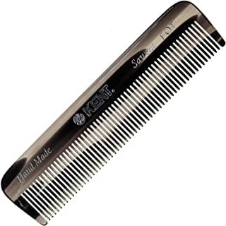 Kent A FOT 男士手工口袋梳,石墨,全细齿梳直发器,适用于日常梳发造型、胡须和胡须,使用干湿两用,锯切手工抛光,英国制造