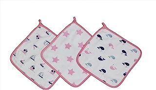 Bacati Little Sailor Girls 船只/鲸鱼细布三件套洗衣布