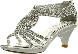 Angel 37K 小女孩水钻鞋跟防水台礼服凉鞋 黑色 银色 1 M US 儿童