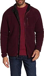 防风雨男士夹克中号全拉链羊毛口袋-前红色 M 码