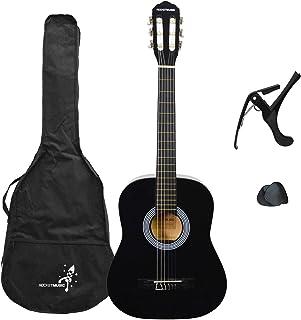 Rocket 3/4 尺寸经典吉他,黑色,尼龙弦吉他,带包,Capo 和拨片