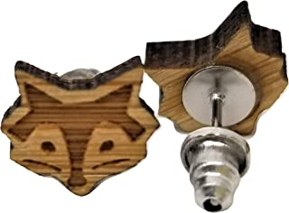 狐狸脸耳环 - 木质镂空 - 耳钉 - 一对!