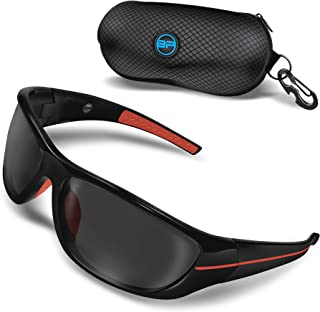 BLUPOND 男式夜间驾驶眼镜 - 半偏光黄色贴膜 - TAC HD 远景摩托车骑行 - Chopper