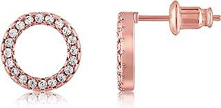 KISPER 18K 镀金方晶锆石光环耳钉