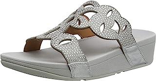 Fitflop Elora Slide - 激光 Hotfix 女士凉鞋,灰色