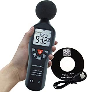 Instrument 小型专业数字声平表分贝,带背光显示,高精度测量 30dB-130dB,带数据记录功能(声级计)