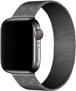 Mediatech 兼容 Apple Watch 表带 44 毫米 42 毫米 40 毫米 38 毫米 不锈钢腕带网眼环磁性封口可调节金属替换表带,适用于 iWatch 系列 1/2/3/4/5/6/SE 38 毫米 / 40 毫米 黑色