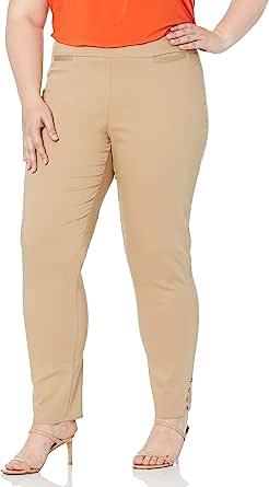 SLIM-SATION 女式宽带套穿纯色九分裤