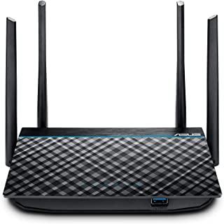 ASUS 华硕 RT-ACRH13 AC1300 双频WiFi路由器,4个千兆LAN端口,便捷的应用设置,VPN,家长控制,MU-MIMO,USB 3.0端口,游戏,4K 流式处理