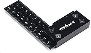 Woodraphic 精密方形标尺,用于测量和标记- 铝钢框架工具适用于专业木箱使用 100mm 黑色 WR-MS-100