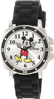 Disney 儿童 mk1080米老鼠手表,黑色橡胶表带