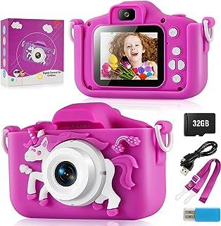 儿童相机,女孩数码相机 200 万像素双 1080P 高清 8X 变焦卡通自拍玩具相机生日节日礼物 适合幼儿年龄 3-10 岁儿童的迷你摄像机带 2 英寸 IPS 屏幕和 32GB SD 卡
