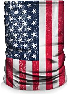 Controller Gear Neck Gaiter 面罩围巾 - 美国制造,*、防尘、运动、头巾适用于钓鱼、徒步、骑自行车、骑摩托车、跑步 - 做旧美国国旗 - 非机器*