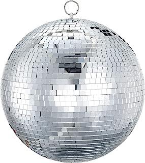 Mirror Disco Ball Sumono 8 英寸(约 20.3 厘米)镜子球闪电球带挂环适用于 DJ 俱乐部舞台酒吧派对、婚礼节日装饰