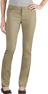 Dickies 女士青少年 5 口袋弹力斜纹裤 修身喇叭裤 棕色(Desert Sand) 15