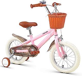 Karcle 14 16 18 英寸(约 45.7 厘米)儿童自行车男孩女孩自行车带可拆卸训练轮,3-10 岁的儿童自行车 35-59 英寸(约 88.9-149.9 厘米)高,儿童自行车带前后双手制动器,儿童自行车..