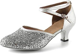 Beclati 女式麂皮鞋底婚礼鞋水钻交际舞鞋闪光性能鞋派对舞鞋20世纪20年代
