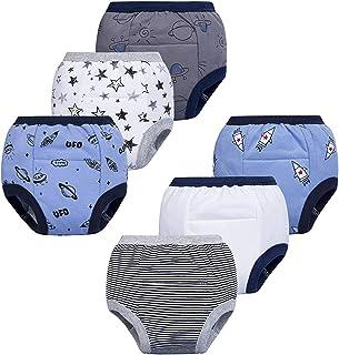 BIG ELEPHANT 男婴 6 条装幼儿便盆衬垫 * 纯棉尿裤防水内衣