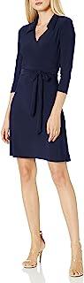 Star Vixen 女式娇小七分袖人造裹身裙
