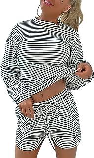 Yissang 女式休闲条纹长袖上衣和短裤 2 件套睡衣家居服