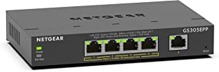 NETGEAR 网件 5 端口千兆以太网智能管理 Plus PoE 交换机 (GS305EPP) – 4 x PoE+ @ 120W,台式机/壁挂式