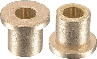 uxcell 法兰套筒轴承 6mm 孔径 10mm 外径 12mm 长 14mm 法兰直径 2mm 法兰厚度烧结青铜自润滑衬套 2 件