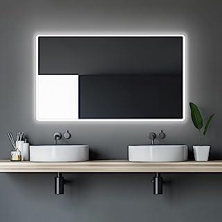 Talos LED Moon 浴室镜,120x70 厘米 - 暖白色灯光 - 现代设计和高品质涂层