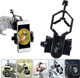 HUTACT 手机适配器支架,通用望远镜适配器支架,适用于瞄准镜,双筒望远镜,单筒望远镜,显微镜,360° 旋转手机夹适合市场上几乎所有智能手机