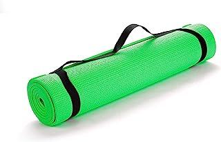 Mind Reader YOGAPVC-GRN 多功能超厚瑜伽健身和运动垫,带携带带,高*防撕裂,*