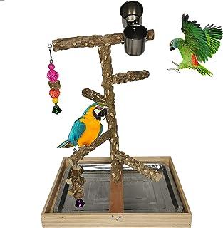 Tfwadmx 鸟栖息地天然木材支架玩具鹦鹉游戏支架平台鸟笼树枝栖息地配件适用于长尾小鹦鹉鹦鹉锥体爱情鸟