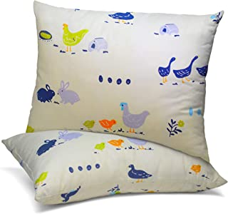 Celeep 4 件套(2 个婴儿枕头,带 2 个枕套) - 13x18 英寸幼儿床上用品小枕头 - * 纯棉动物图案枕套