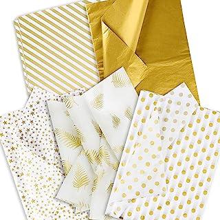 金色纸巾纸,50 张散装纸巾纸,用于礼品包装,白色金属金色纸巾纸用于礼品袋 DIY 运输工艺品礼品包装纸 50.8 x 70.1 厘米