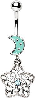 Little Aiden 华丽月球和星星形吊环 316L 不锈钢尺寸 14GA 0.95 cm
