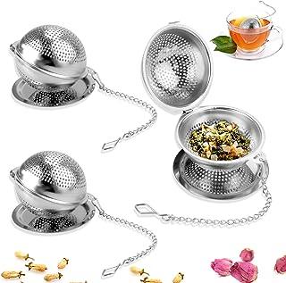 Oruuum 3 套 304 个不锈钢茶球,带托盘,茶壶滤茶器,茶球冲泡器,散茶