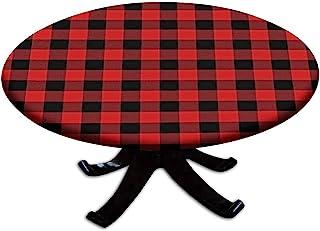 红色和黑色水牛格子床笠桌布,圆形,Gingham 主题弹性边缘桌布,防水涤纶桌布,户外、室内、自助餐和野餐装饰,适合桌面 71.12 厘米 - 81.28 厘米