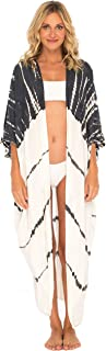 SHU-SHI 女式休闲宽松和服开衫扎染海滩罩衫加大码