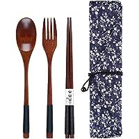 木制餐具套装,木制餐具便携,午餐器具套装,带盒子,旅行餐具套装,含盒子,包括木制叉子和木制勺子