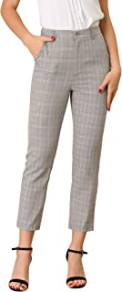 Allegra K 女式格子高腰弹性后背办公室工作及踝裤