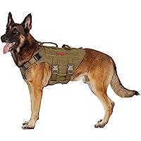 大号战术狗狗胸背带,无拉扯可调节狗狗背心胸背带,带手柄的大钩和环面板用于贴片(狼棕色,M 码)