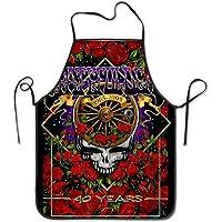 KUMI Grate-ful Dead Skull 烹饪围裙,趣味烧烤或厨房围裙,可机洗,优质围兜围裙,适合女士和男士…