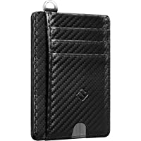 Fintie 超薄极简前袋钱包,RFID 屏蔽信用卡夹卡套,带身份证窗口,男女适用 *Z-Microfiber Blac…