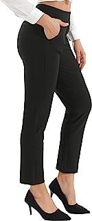 Grneric YUANM 女式高腰弹力修身正装长裤,超舒适黑色直筒裤,适合工作、办公、休闲