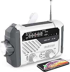 应急收音机,dodocool NOAA天气收音机,飓风用品,手摇发电机,电池供电,太阳能生存收音机,带AM/FM,LED手电筒,阅读灯,2000mAh手机充电器,SOS警报
