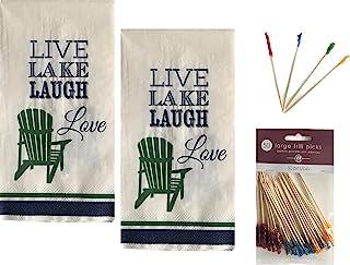 一次性擦手巾纸客人餐巾套装适用于晚餐自助派对活动装饰 2 层餐巾 40 克拉带 4 英寸三明治褶边拨片 50 克拉(现场、湖泊、爱)