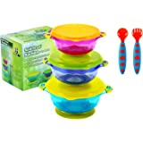 PandaEar Stay Put 防漏可堆叠婴儿吸盘碗 3 种尺寸适合幼儿使用硅胶喂食餐具和*盖,不含双酚 A