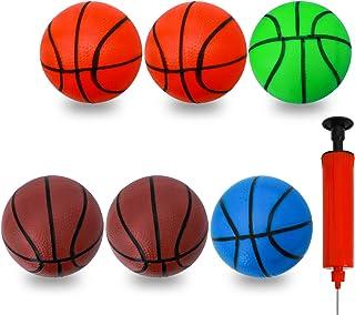 6 件迷你玩具篮球,彩色儿童玩具篮球小号橡胶篮球,海滩泳池弹力球幼儿替换运动玩具,带泵
