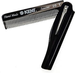 Kent 20T 黑色石墨手工折叠男士口袋梳子,细齿梳直发器,适合日常梳发造型、胡须或胡须,使用干或与香膏一起使用,锯切,英国制造